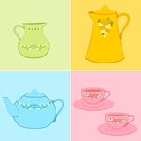 Beautiful cups and tea-pots Royalty Free Stock Photo