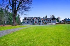Beautiful curb appeal of a luxurious stone wedding venue. In Seattle Royalty Free Stock Image
