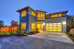 Modern craftsman style home exterior. Royalty Free Stock Photo