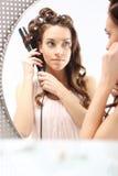 Beautiful curls, cosmetics styling Stock Photo