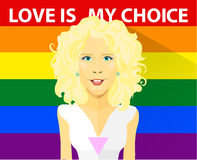 Beautiful curly blond girl with LGBT t-shirt. Gays and lesbian couple vector illustration. Slogan love is my choice and Royalty Free Stock Photos