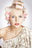 Beautiful Curly Blond Hair Girl At Beauty Salon Stock Images