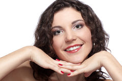 Beautiful curly brunette Stock Photos