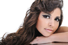 Beautiful curly brunette woman Stock Image