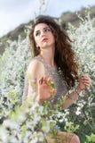 Beautiful curly caucasian lady Stock Photos
