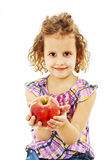 Beautiful curly girl with apple Stock Photography