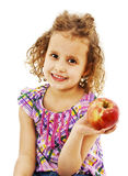 Beautiful curly girl with apple Stock Photos