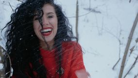 Girl smiling in snowy forest. Beautiful curly girl in a red sweater looks in a frame in a snowy forest. A young woman smiles joyfully against the backdrop of a stock video footage