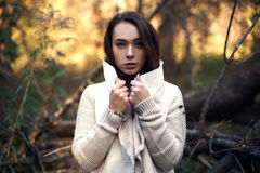Beautiful curly woman in coat outdoors Royalty Free Stock Photography
