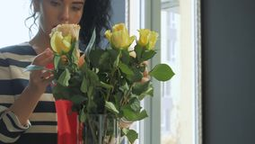 Beautiful curly woman forms a bouquet by the window stock footage