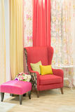 A beautiful curtain in a luxury living room Royalty Free Stock Photography
