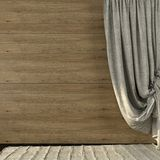 Beautiful curtains made of linen on the background of wooden wal Stock Photos