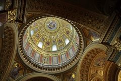 Beautiful curve  arched vault in the Catholic cathedral Stock Image