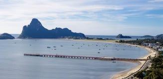 Beautiful curve of beach. Beautiful curve of Prachuap khiri khan beach, Thailand stock photos