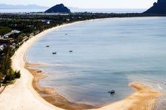 Beautiful curve of beach. Beautiful curve of Prachuap khiri khan beach, Thailand royalty free stock images