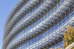 Beautiful curved exterior of modern office buildin Royalty Free Stock Photo