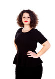 Beautiful curvy girl with black dress and red lips. Isolated on a white background stock photos