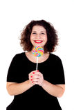 Beautiful curvy girl with a lollipop Royalty Free Stock Image