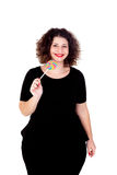 Beautiful curvy girl with a lollipop Stock Images