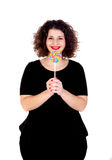 Beautiful curvy girl with a lollipop Stock Photography