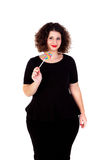 Beautiful curvy girl with a lollipop Stock Image