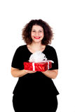 Beautiful curvy girl with a red gift Stock Photography