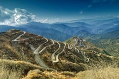 Curvy roads , Silk trading route between China and India. Beautiful Curvy roads on Old Silk Route, Silk trading route between China and India, Sikkim Royalty Free Stock Photography