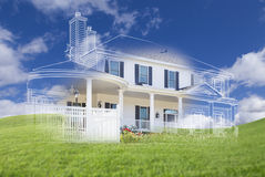 Beautiful Custom House Drawing and Ghosted House Above Grass Stock Photos