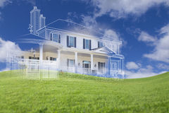 Beautiful Custom House Drawing and Ghosted House Above Grass Royalty Free Stock Photography