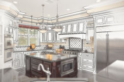 Beautiful Custom Kitchen Design Drawing with Ghosted Photo Behind stock illustration