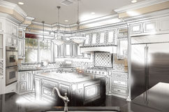 Beautiful Custom Kitchen Design Drawing and Photo Combination royalty free illustration