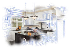 Beautiful Custom Kitchen Design Drawing and Photo Combination Stock Images