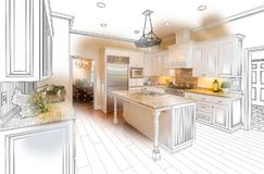 Beautiful Custom Kitchen Drawing and Photo Combination on White. royalty free illustration