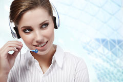 Beautiful Customer Representative girl Royalty Free Stock Photos
