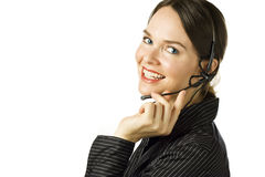Beautiful customer service agent smiling. Royalty Free Stock Photography