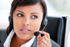 Beautiful customer service agent at work Royalty Free Stock Photo