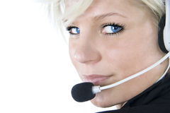 Beautiful customer service girl. On white background Royalty Free Stock Photo