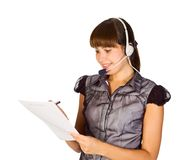 Beautiful customer service operator. Young happy beautiful customer service operator girl in headset Stock Images