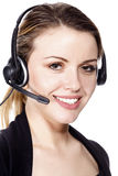 Beautiful customer service operator. Woman with headset, isolated on white background Royalty Free Stock Photos