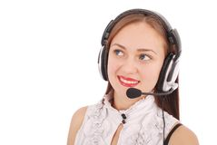 Beautiful customer service operator student girl with headse. T, isolated on white background Stock Image
