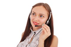 Beautiful customer service operator student girl with headse Stock Images