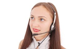 Beautiful customer service operator student girl with headse. T, isolated on white background Royalty Free Stock Photo