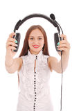 Beautiful customer service operator student girl with headse royalty free stock photos