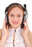 Beautiful customer service operator student girl with headse Stock Image