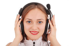 Beautiful customer service operator student girl with headse stock photography
