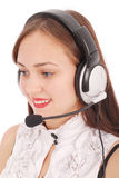 Beautiful customer service operator student girl with headse Royalty Free Stock Images