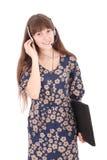 Beautiful customer service operator student girl with headset Stock Photos