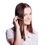 Beautiful customer service operator woman with headset Royalty Free Stock Photo