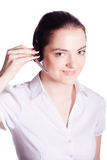 Beautiful customer service operator woman with headset Royalty Free Stock Image