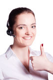 Beautiful customer service operator woman with headset Stock Image